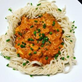 Met spaghetti van 100% speltmeel